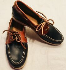 GH BASS HAMPTON CORE 2 BLUE AND BROWN LEATHER BOAT SHOES MOCCASINS MENS SIZE 7.5
