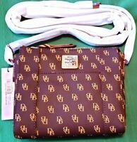 "New Genuine Dooney & Bourke Signature 8"" Brown Canvas Crossbody Handbag Purse"