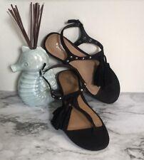 Mossimo Black Suede Tassel Sandals Sz 6.5