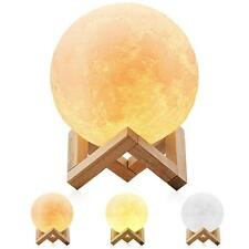3D LED Moon Lamp Night Light with 3 Color Modes Wooden Stand 5.9 Inches