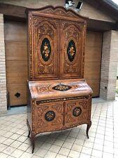 Trumeau antico mobile scrittoio credenza ribalta secrétaire legno intarsiato 700