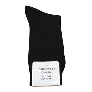Jasmine Silk 3 Pairs men's 100% Silk Socks Evening Thermal socks - BLACK