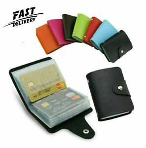 Leather Wallet Unisex Credit Card Holder Pouch Card Protection Takes 24 Cards UK