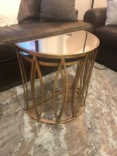 Set of Two Round Gold Nested Tables with Mirror Tops