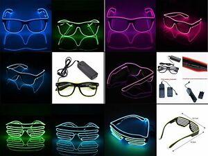 EL Wire Neon LED Light Sunglasses Eyewear Shade Nightclub Halloween Rave Party