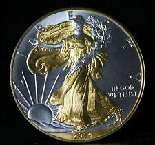 2014 Gilded American Silver Eagle .999 Bullion 1oz Ounce  Free Shipping 24k Gold
