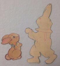 2 Vintage Die Cut Easter Decoration Bunny Rabbit