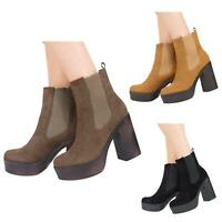 NEW LADIES WOMENS HIGH HEEL PLATFORM PULL UP CHELSEA ANKLE BOOTS SHOES SIZE 3-8
