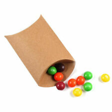 50pcs Wedding Favor Box Kraft Paper Pillow Party Favour Gift Cake Candy Bag UK