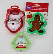 Wilton Christmas Santa Gingerbread Boy Tree Metal Cookie Cutters Lot 3