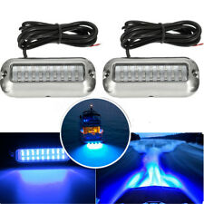 1 Pair 50w 27led Underwater Pontoon Boat Transom Lights Waterproof W/316ss Cover