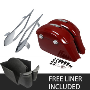 Red Saddlebag Chrome Protector Rails Fit For Indian Chieftain Springfield 14-18