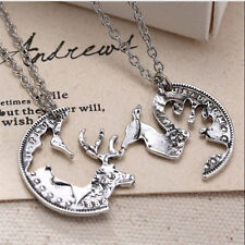 Special Cute Deer 2 Piece Pendant Crystal Couple Chain Choker Necklace Gift FT13