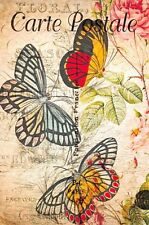 Postcard French Vintage Shabby Chic Style, Butterflies, Floral 7K