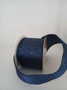 2 metres of wide dark blue glittery christmas ribbon