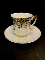 VTG Delicate PEARLESCENT & Gold Tea Coffee Cup & Saucer Raised Cross Mark?