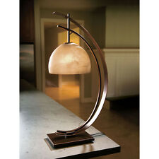 Half Moon Desk Table Lamp - Accent Light Rubbed Bronze Frosted Glass