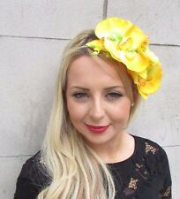 Large Yellow Orchid Flower Fascinator Headpiece Headband Hair Rockabilly 3309