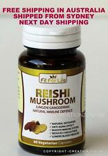 ORGANIC REISHI MUSHROOM PURE SPORE 1 BOTTLE 60 CAPSULE LINGZHI GANODERMA LUCIDUM