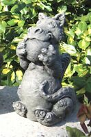 Little Darling Dragon 'Playing Ball'-cast stone-cute baby animal-garden statue