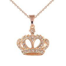 Luxury Wedding Rhinestones Crystal Crown Pendant Necklace Long  Chain Queen