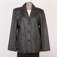 Women's Leather Jacket Size M Medium Black CLIO