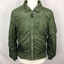 Used Alpha Industries Mens Green Army Bomber Flight Jacket sz M 3A382 Slim Fit