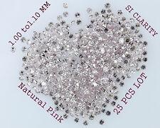 100 % Real Natural Loose Diamond Round Pink SI 1.00 to 1.10 MM 25 pcs Lot K11