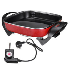 Electric Skillet Frypan 1500W Thermostat Control Non-stick Fry Pot Food 5-6L