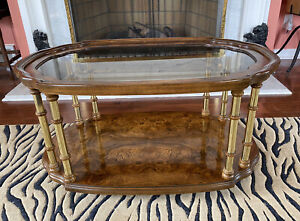 DREXEL Et Cetera Rolling Burl Elm Wood Glass Bamboo Brass Coffee Cocktail Table