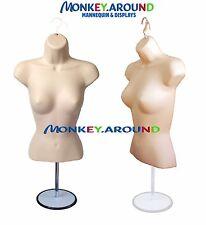 Female Mannequin Body Dress Flesh Form +1 Stand + Hook For Hanging Display Shirt