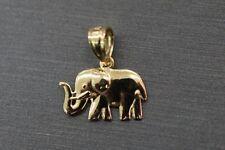 "14K Solid Yellow Gold 0.5"" Polished Tiny Elephant Charm Pendant."