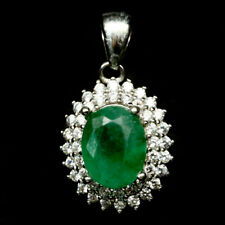 NATURAL 6 X 8 mm. GREEN EMERALD & WHITE CZ 925 STERLING SILVER PENDANT