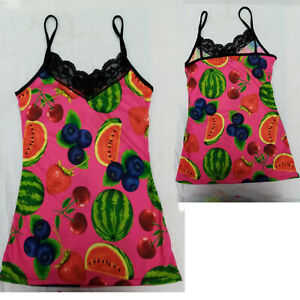 STRAPPY VEST PINK FRUIT SALAD TOP Size 8 to 10 ALTERNATIVE GOTHIC EMO