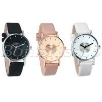 Men's Women's Casual Leather Strap Band Polish Quartz Analog Couples Wrist Watch