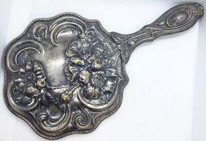 ANTIQUE ART NOUVEAU SILVER PLATED HAND MIRROR REPOUSSE FLOWER DESIGN 1905