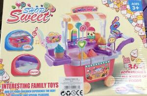 Kids 36 pcs Sweet Shop Candy Ice Cream Cart Toy Set pretend play lights sound UK