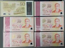 Singapore Commemorative SG50 [6 pcs, SG50 + 5 SG10] With Folder UNC Banknote