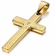 Men's Gold Tone Cross Spanish Bible Text Prayer Stainless Steel Pendant Necklace