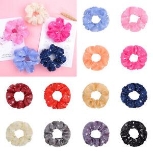 Women Candy Color Shiny Organza Elastic Scrunchies Rubber Band Chiffon Hair Rope