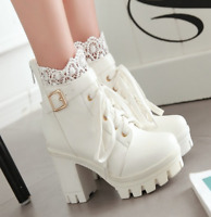 New Womens Cosplay Lace Chunky High Heel Platform Lace Up Ankle Boots Shoes