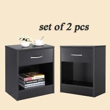 Set of 2 Bedroom Nightstand Bedside End Table Furniture Open Storage Drawer BLK