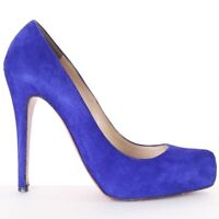 CHRISTIAN LOUBOUTIN Rolando blue suede leather pointy heels pumps EU38.5 US8.5