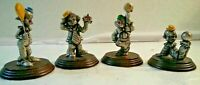 George Good Cast Pewter Clowns Lot Of 4 Wood Base