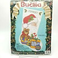 Counted Cross Stitch Kit Christmas Stocking Santa's Toys 82914 Bucilla 19 inch