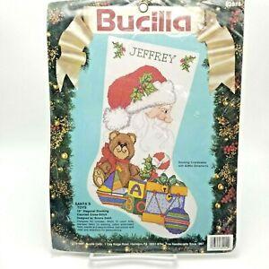 Counted Cross Stitch Kit Christmas Stocking Santa's Toys 82914 Bucilla 19 inch