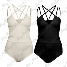 Ladies Women's Cami Spaghatti Cross Over Strap Sleeveless Bodysuit Leotard Top Black Ml 12-14
