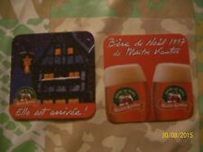 2 SOUS BOCKS BIERE DE NOEL1997 MAITRE KANTER under glass advertising BEER