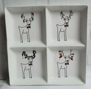 Cordon Bleu Happy Holidays Rudy Reindeer Divided Relish Serving Tray Christmas