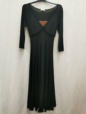 MAX &CO. Max Mara ladies black dress orange lace decolletage quarter sleeve visc